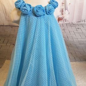 3/$30 Jessica Ann blue polka dot floral dress 6X